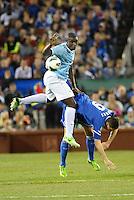 Micah Richards (2) Manchester City and Fernando Torres (9) Chelsea in aeriel battle..Manchester City defeated Chelsea 4-3 in an international friendly at Busch Stadium, St Louis, Missouri.