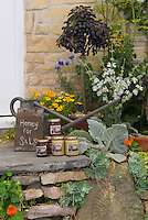 Homemade honey from bees for sale on front step of house near garden with watering can