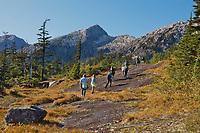 Hiking along the granite rock of Western Prince William Sound, Chugach National Forest, Kenai mountains, Alaska.
