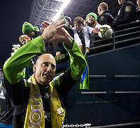 Seattle Sounders FC goalkeeper Kasey Keller acknowledges fans as he leaves the pitch after a match against the San Jose Earthquakes at CenturyLink Field in Seattle Saturday October 15, 2011. The Sounders FC won the game 2-1. The game was Keller's last regular season home game.