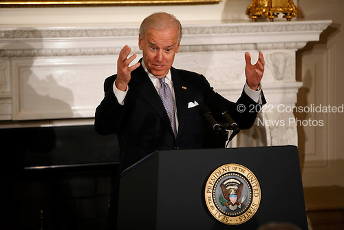 Vice President Joseph Biden, Jr. speaks to the National Governors Association in the State Dining room of the White House in Washington, D.C. on February 25, 2013. .Credit: Dennis Brack / Pool via CNP