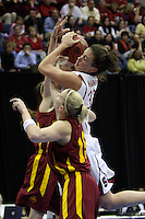 BERKELEY, CA - MARCH 30: Jillian Harmon fights for a rebound during Stanford's 74-53 win against the Iowa State Cyclones on March 30, 2009 at Haas Pavilion in Berkeley, California.