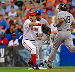 16 June 2006: Nick Johnson, first baseman for the Washington Nationals, in action against the New York Yankees at RFK Stadium, in Washington, DC. The Yankees defeated the Nationals 7-5 in the first meeting of the two franchises...Mandatory Photo Credit: Ed Wolfstein Photo...