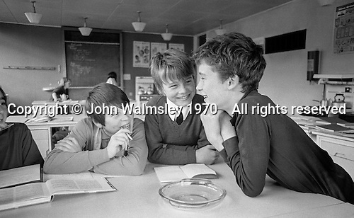 Having fun in class, Whitworth Comprehensive School, Whitworth, Lancashire.  1970.