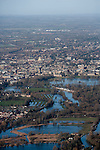 Oxford in  flood . View towards Christchurch meadow showing the Thames in flood