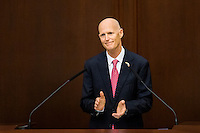 TALLAHASSEE, FLA. 1/12/16-Gov. Rick Scott applauds as he delivers the state of the state address Tuesday at the Capitol in Tallahassee.<br /> <br /> COLIN HACKLEY PHOTO