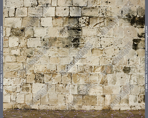 Stock photo of an Ancient stone wall texture Yellow limestone background from Cyprus Horizontal