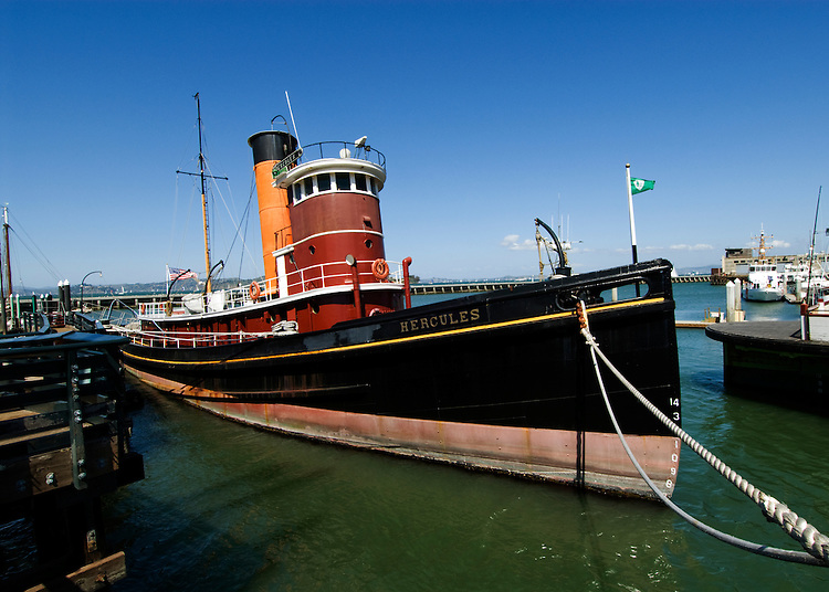 California, San Francisco: Hercules, a steam-powered tug at the Hyde Street Pier that once guided vessels in San Francisco Bay..Photo #: 13-casanf78320.Photo © Lee Foster 2008