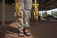 """Bathroom keys at a gas station outside Kakadu National Park.  This illustrates the """"cult of the crocodile"""" that is so prevalent in the Northern Territory."""