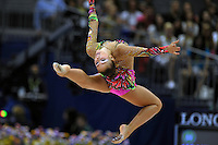September 8, 2009; Mie, Japan;  Daria Kondakova of Russia stag leaps with rope individual All Around final to take silver at 2009 World Championships Mie. Photo by Tom Theobald.