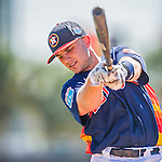 4 March 2016: Houston Astros catcher Max Stassi awaits his turn in the batting cage prior to a Spring Training pre-season game against the St. Louis Cardinals at Osceola County Stadium in Kissimmee, Florida. The Astros defeated the Cardinals 6-3 in Grapefruit League play. Mandatory Credit: Ed Wolfstein Photo *** RAW (NEF) Image File Available ***