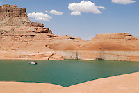 View of red sandtone and lake Powell