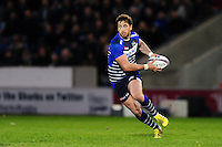 Danny Cipriani of Sale Sharks in possession. European Rugby Challenge Cup quarter final, between Sale Sharks and Montpellier on April 8, 2016 at the AJ Bell Stadium in Manchester, England. Photo by: Patrick Khachfe / JMP