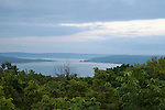 View of the pristine forest and Lake Michigan in the distance in Sleeping Bear Dunes National Lakeshore, northwestern Michigan, MI, USA