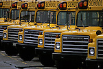 Row of yellow school buses in bus depot in Lynnwood Washington State USA