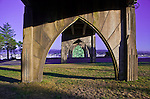 The underside of the Yaquina Bay Bridge superstructure reveals gothic arch architecture, used in the construction.
