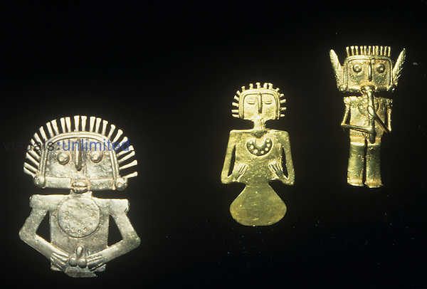 Silver and gold figures from the Gold Museum, Bogota, Colombia.
