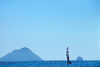 Catamaran sailboat with islands in background,  Mazatlan, Sinaloa, Mexico..