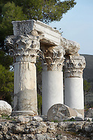 CORINTH, GREECE - APRIL 15 : A detail of Temple E, on April 15, 2007 in Corinth, Greece. Origionally built during the early Augustan period, 1st century BC, Temple E was rebuilt after the earthquake of 77 AD. These three fine Corinthian capitals and columns, two of which have been reconstructed, are seen in the afternoon light. Corinth, founded in Neolithic times, was a major Ancient Greek city, until it was razed by the Romans in 146 BC. Rebuilt a century later it was destroyed by an earthquake in Byzantine times. (Photo by Manuel Cohen)