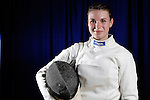 23 MAR 2012:  Katarzyna Dabrowa of Ohio State poses after beating Margherita Guzzi Vincenti of Penn State in the epee competition of the Division I Women's Fencing Championship held at St. John Arena on the Ohio State University campus in Columbus, OH. Dabrowa defeated Guzzi Vincenti 15-14 to claim the national title.  Jay LaPrete/ NCAA Photos
