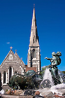 View of Saint Alban's Anglican Church from Gefion fountain in Copenhagen, Denmark.