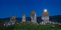 Full moon rising over Eightercua, Waterville County Kerry, Ireland / wv093