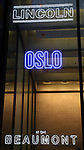 Theatre Marquee for the Opening Night Performance  for the Lincoln Center Theater production of 'Oslo' at the Vivian Beaumont Theater on April 13, 2017 in New York City.