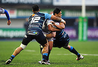 Ben Tapuai of Bath Rugby takes on the Cardiff Blues defence. European Rugby Challenge Cup match, between Cardiff Blues and Bath Rugby on December 10, 2016 at the Cardiff Arms Park in Cardiff, Wales. Photo by: Patrick Khachfe / Onside Images