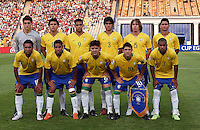 Brazil's team, from left to right, back row, Rafael (1), Fabrico (14), Alan Kardec (9), Dalton (3), Renan (5), Paulo Henrique (11), front row,Boquita (18), Douglas (2), Diogo (6), Giuliano (10), Alex Teixeira (7), stands on the field before the match against Germany during the FIFA Under 20 World Cup Quarter-final match at the Cairo International Stadium in Cairo, Egypt, on October 10, 2009. Germany lost 2-1 in overtime play.      ... .. ......