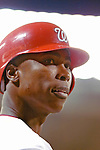12 June 2006: Alfonso Soriano, outfielder for the Washington Nationals, looks back to the dugout during a game against the Colorado Rockies at RFK Stadium, in Washington, DC. The Nationals fell to the Rockies 4-3 in the first game of the four game series...Mandatory Photo Credit: Ed Wolfstein Photo..