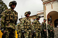 Colombian soldiers take part in parade while residents celebrated the Colombia's 202th Independence Day parade in Tamesis, July 20, 2012. Photo by Kena Betancur / VIEW.