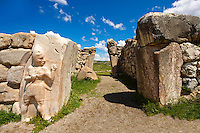 Photo of the Hittite releif sculpture on the Kings gate to the Hittite capital Hattusa 12