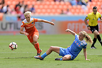 Houston, TX - Saturday April 15, 2017: Claire Falknor goes after a loose ball during a regular season National Women's Soccer League (NWSL) match between the Houston Dash and the Chicago Red Stars at BBVA Compass Stadium.