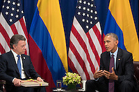 (L to R) President of Colombia Juan Manuel Santos and  United States President Barack Obama meet during a bilateral meeting at the Lotte New York Palace Hotel, September 21, 2016 in New York City. In Tuesday's speech to the United Nations General Assembly, Obama stated that 'helping Colombia end Latin America's longest war' was among his major accomplishments as president. Last month, the Colombian government reached a peace agreement with the Revolutionary Armed Forces of Colombia (FARC). <br /> Credit: Drew Angerer / Pool via CNP /MediaPunch