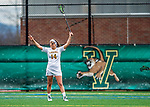 25 April 2015: University of Vermont Catamount Midfielder Courtney Cole, a Freshman from York, Maine, directs play during game action against the University of New Hampshire Wildcats at Virtue Field in Burlington, Vermont. The Lady Catamounts defeated the Lady Wildcats 12-10 in the final game of the season, advancing to the America East playoffs. Mandatory Credit: Ed Wolfstein Photo *** RAW (NEF) Image File Available ***