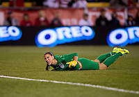 Hope Solo (1) of the USWNT reacts to a missed save during an international friendly at Crew Stadium in Columbus, OH. The USWNT tiedNew Zealand, 1-1.