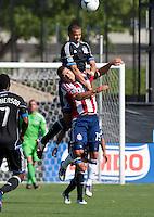 Santa Clara, California - Sunday May 13th, 2012: Alejandro Moreno of Chivas USA defending Jason Hernandez of San Jose Earthquakes during a Major League Soccer match at Buck Shaw Stadium
