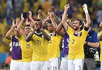 FUSSBALL WM 2014                ACHTELFINALE Kolumbien - Uruguay                  28.06.2014 Victor Ibarbo, Jackson Martinez, Fredy Guarin und Mario Yepes (v.l., alle Kolumbien) jubeln nach dem Abpfiff