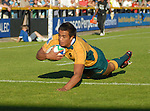 Peter Betham dives over. Australia U20 V Fiji U20. IRB Junior Rugby World Cup 2008© Ian Cook IJC Photography iancook@ijcphotography.co.uk www.ijcphotography.co.uk.