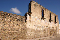 Ruined wall of building in the 19th century mining town of Mineral de Pozos, Guanajuato, Mexico.