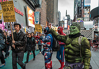 NEW YORK, NY - APRIL 07 : Demonstrators march from Trump Tower to Times Square at a rally to condemn the U.S. Bombing of Syria. The United States launched a military strike Thursday on a Syrian government airbase in response to a chemical weapons attack that killed dozens of civilians earlier in the week. In New York City on April 07, 2017. VIEWpress/Maite H. Mateo