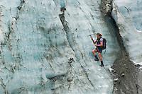 Glacier Guide cutting steps, Franz Josef glacier, New Zealand