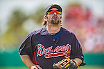 11 March 2013: Atlanta Braves infielder Blake DeWitt in action during a Spring Training game against the Washington Nationals at Space Coast Stadium in Viera, Florida. The Braves defeated the Nationals 7-2 in Grapefruit League play. Mandatory Credit: Ed Wolfstein Photo *** RAW (NEF) Image File Available ***
