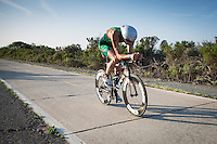 Trevor Wurtele competes during the bike portion of the Accenture Ironman California 70.3 in Oceanside, CA on March 29, 2014.
