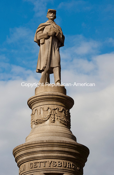 SEYMOUR ,  CT,  CT-041115JS70- The Soldiers' Monument in French Part in Seymour, was dedicated in 1904. The figure overlooks downtown and the front pedestal reads, &quot;This monument is erected by the citizens of Seymour in honored memory of the defender of our country 1861-1865.&quot;<br /> Jim Shannon Republican-American