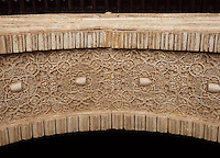 Detail of ornamentation on interior side of arches, the courtyard of the Mexuar, The Mexuar Palace, 14th century, under the reign of Isma?il I, substantial alterations during the reign of Yusuf I (1333 ? 1354) and of his son Muhammad V (1354 ? 1359, 1362 ? 1391), The Alhambra, Granada, Andalusia, Spain. Picture by Manuel Cohen
