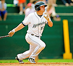 25 July 2010: Vermont Lake Monsters outfielder Wade Moore in action against the Tri-City ValleyCats at Centennial Field in Burlington, Vermont. The ValleyCats came from behind to defeat the Lake Monsters 10-8 in NY Penn League action. Mandatory Credit: Ed Wolfstein Photo