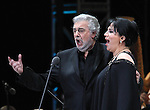 Opera soprano singer Olivia Gorra and tenor singer Placido Domingo perform an opera song during the Concert of the Angel in Mexico City, December 19, 2009. Domingo and Gorra played the concert with sopranos singers Maria Alejandres and Eugenia Garza. Photo by Heriberto Rodriguez