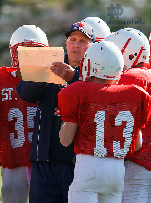 Former Notre Dame football player Jay Sandring is a freshman defensive coach for St. Rita Catholic High School in Chicago. 2011 Photo by John Konstantaras