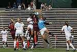 North Carolina's Yael Averbuch (17) challenges Virginia Tech's Laurie Beth Puglisi (center) and Ashley Owens (19) for a ball in the box on Sunday, October 15th, 2006 at Fetzer Field in Chapel Hill, North Carolina. The University of North Carolina Tarheels defeated the Virginia Tech Hokies 1-0 in an Atlantic Coast Conference NCAA Division I Women's Soccer game.